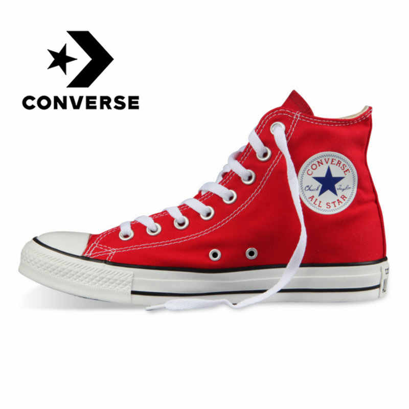 Original Authentic Converse ALL STAR Classic High-top Unisex Skateboarding Shoes Lace-up Durable Canvas Footwear Red 101013