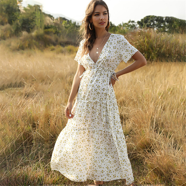 New Summer Beach Holiday Dress Women Casual Floral Print Elegant  Boho Long Dress Ruffle Short-Sleeve V-neck Sexy Party Robe 3