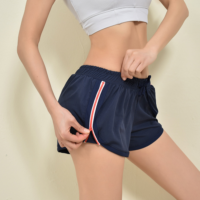 Double-layer Professional Training Running Shorts Side Zipper Lady Exercise Fitness Shorts Breathable Anti-glare