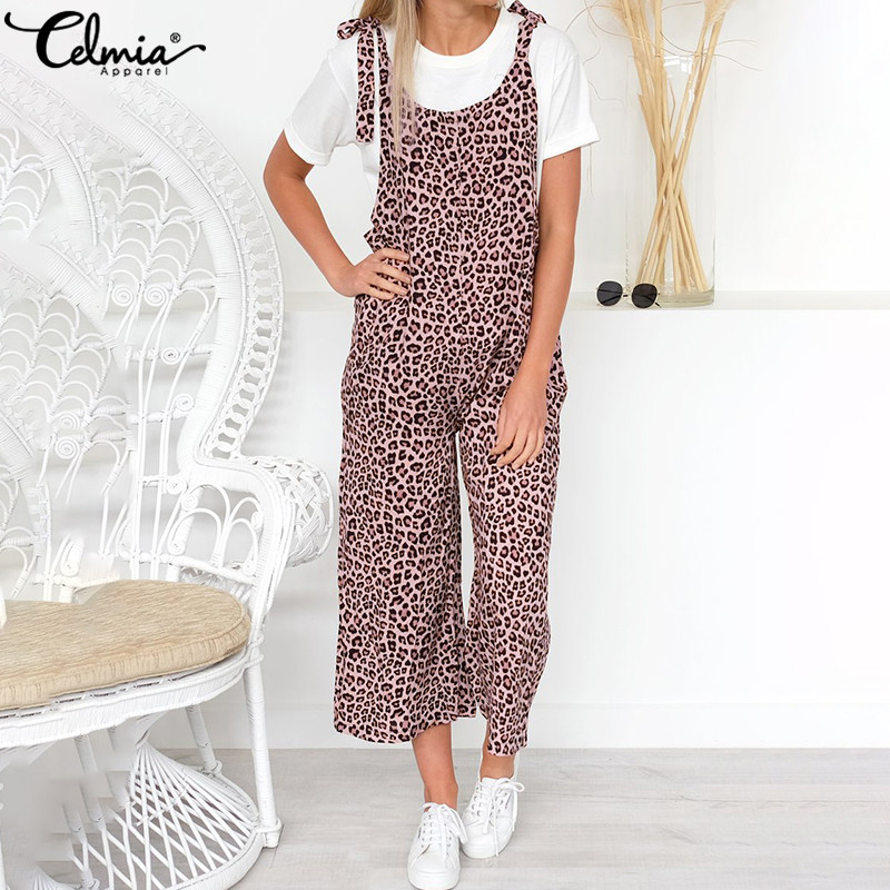 Celmia 2020 Summer Casual Rompers Women Vintage Leopard Printed Jumpsuits Long Overalls Loose Harem Pants Female Dungarees 5XL