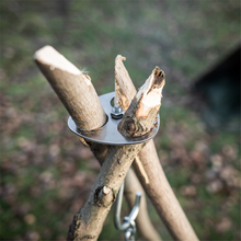 Stainless steel outdoor multifunctional convenient tool. Picnic Camping Tripod Hanging Pot Rack Barbecue Branch Ring