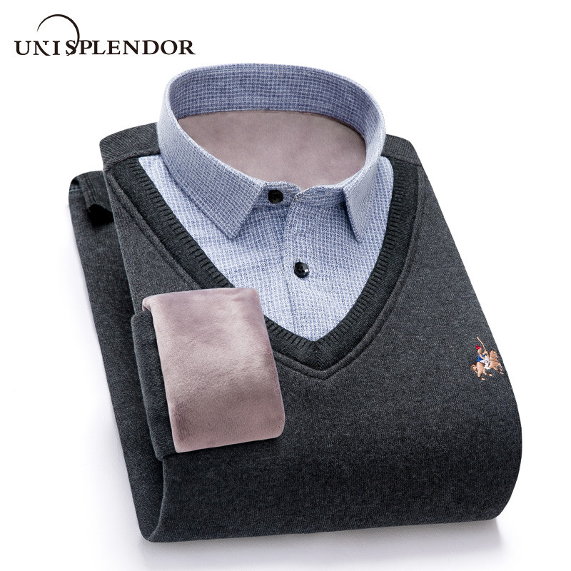 Warm Fake Two Pieces Men Shirt Winter New Fashion Man Dress Shirt Business Party Men Clothing Thicken Plus Velvet Shirt YN10529