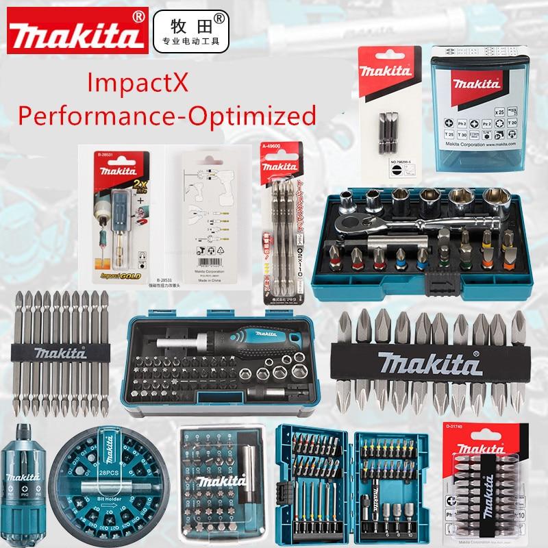 Makita Impactx Kinerja Dioptimalkan Baja Bit Set Metrik Bor Sekrup Bit Set B-54081 B-36170 B-45412 B-52467 D-58833
