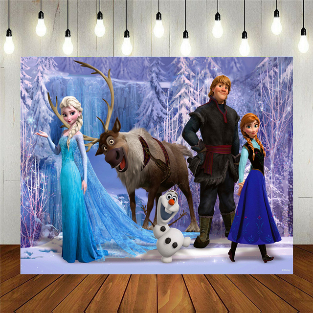Cartoon Anna Elsa Princess Party Photo Snow Queen Colorful Background Happy Birthday Baby Shower Vinyl Photography Backdrop 1