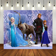 Cartoon Anna Elsa Princess Party Photo Snow Queen Colorful Background Happy Birthday Baby Shower Vinyl Photography Backdrop