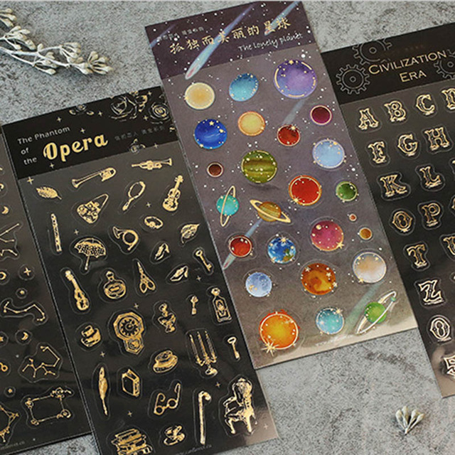 Cute Golden Planet Decoration Stickers Universe Space Sticker For Diary Photo Phone Diy Scrapbooking Stationery School Supplies