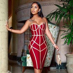 Image 2 - Adyce 2020 nowa letnia bandażowa sukienka kobiety Sexy Spaghetti pasek bez rękawów klub kolano długość suknie wieczorowe w stylu gwiazd