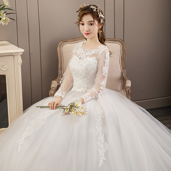 Wedding Dress New Style Women Long Sleeve Lace Up Plus Size Dresses Bride Dream Princess Ball Gowns - discount item  33% OFF Wedding Dresses