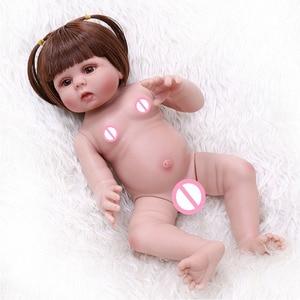 Image 5 - 48CM bebe muñeca renacida niña pequeña muñeca en vestido de conejo rosa de cuerpo completo suave silicona realista bebé suave Pelo Largo juguete de baño