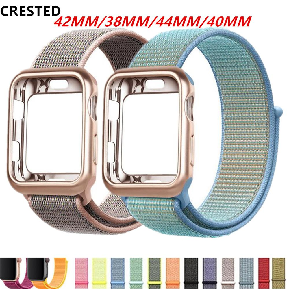 Case+strap For Apple Watch Band Apple Watch 4 3 5 Band Case 44mm/40mm Correa 38 Mm Iwatch Band 42mm Nylon Bracelet Watchband