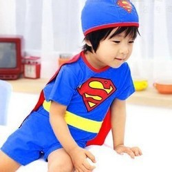 Wholesale Retail Superman Bathing Suit Baby Hot Springs Swimming Suit BOY'S Swimsuit UV-Protection Beachwear