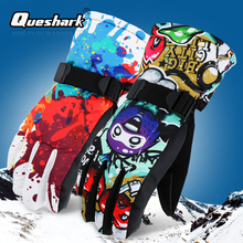 Queshark  30℃ Thicken Adult Teenager Kids Ski Gloves Windproof Waterproof Gloves Winter Thermal Outdoor Sport Mittens 6 Colors