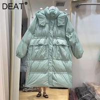 DEAT-abrigo de algodón con cordón para mujer, chaqueta de plumón de pato blanco, de manga larga, temperamento de moda para invierno 2021 11D2977