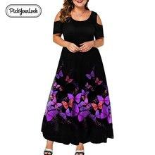 Evening Party Summer Plus Size Maxi Dress Women 6XL 2019 Short Sleeve Floral Printed Elegant A-line Large Dress For Ladies D40