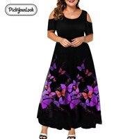 Evening Party Summer Plus Size Maxi Dress Women 6XL 2019 Short Sleeve Floral Printed Elegant A line Large Dress For Ladies D40