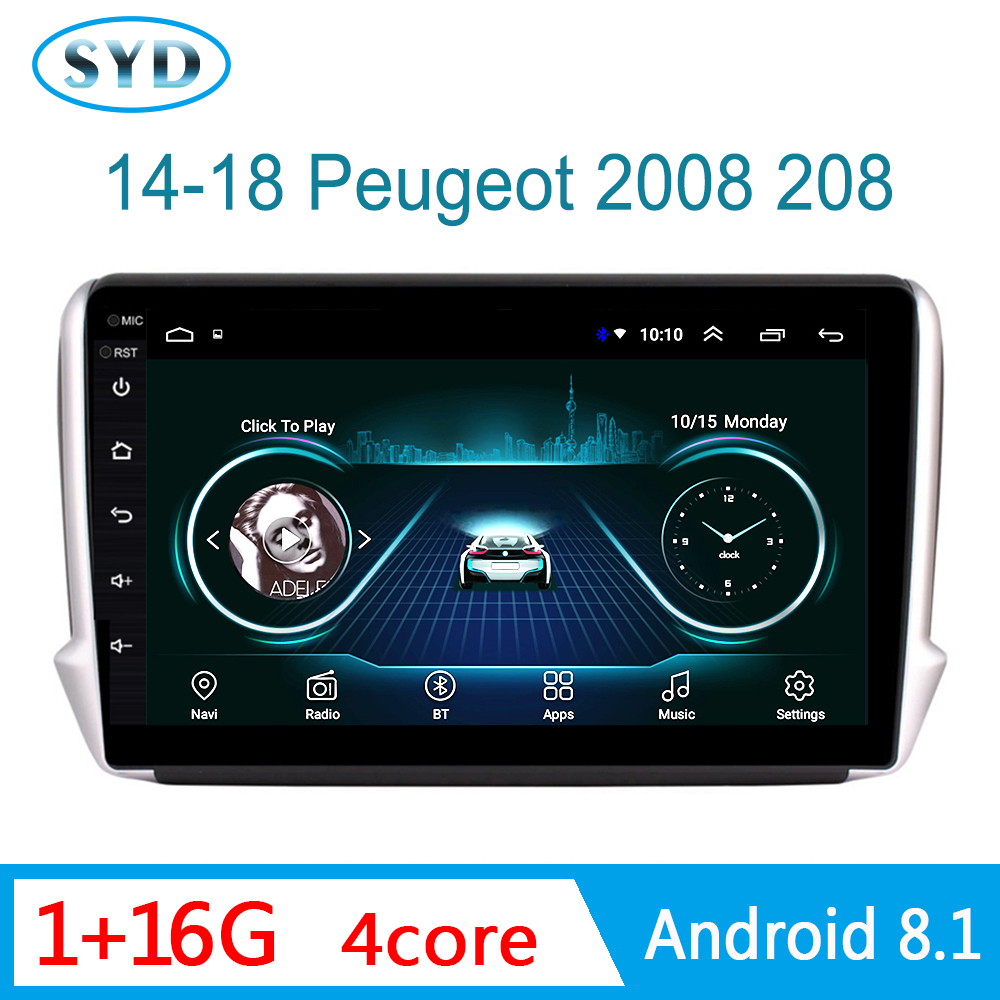 Multimedia system Car <font><b>Radio</b></font> For <font><b>Peugeot</b></font> 2008 2014-2018 GPS Navigation DVD Player with <font><b>Radio</b></font> Bluetooth Mirror Link 1 din Android image
