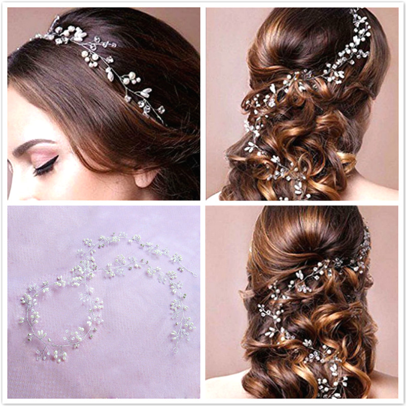 35cm Crystal Pearl Hair Belt Wedding Bridal Hair Ornaments Bridal Headwear Decorations title=