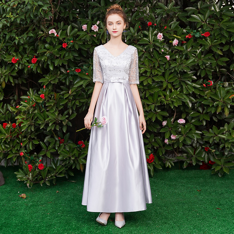 Gray Burgundy Bridesmaid Dresses Elegant V-neck Vintage Embroidery Gust Wedding Party Dress Long Sexy Prom Dress Vestido Mujer
