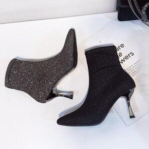 Image 4 - גרב מגפי בלינג נשים גבוהה עקב נעלי קרסול אופנה 2019 אישה נעלי נצנצים דק עקבים גבירותיי מסיבת חתונת נעליים חורף