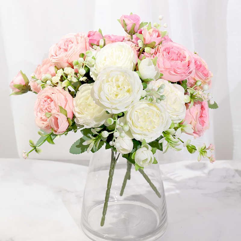 ผ้าไหมสีชมพูPeonyดอกไม้ประดิษฐ์Roseงานแต่งงานDIY DecorคุณภาพสูงBigช่อดอกไม้โฟมอุปกรณ์เสริมหัตถกรรมสีขาวดอกไม้ปลอม