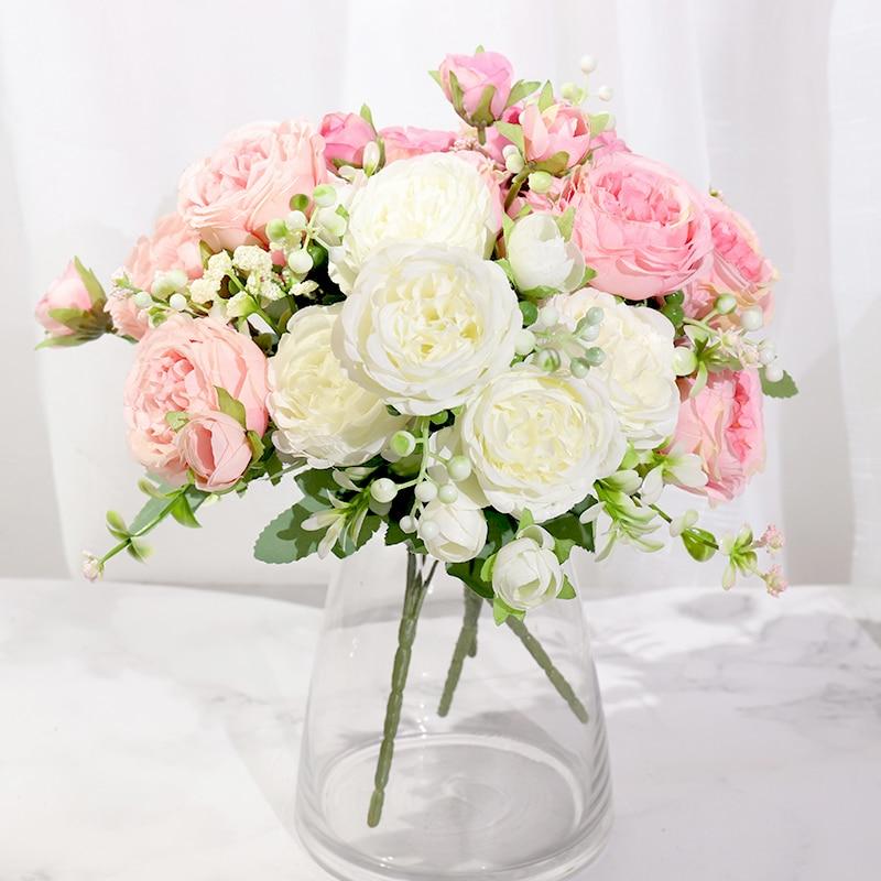 Rosa Seide Pfingstrose Künstliche Blumen Rose Hochzeit Hause DIY Dekor Hohe Qualität Großen Blumenstrauß Schaum Zubehör Handwerk Weiß Gefälschte Blume