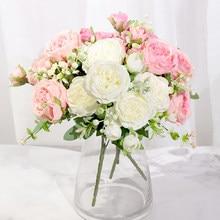 Różowa jedwabna piwonia sztuczne kwiaty róża ślub dom DIY wystrój wysokiej jakościowy duży bukiet pianki akcesoria rzemiosło biały sztuczny kwiat