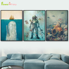Cartoon Shark Wall Art Canvas Painting Undersea Animal Fish Nordic Poster Sea Cuadros Pictures For Living Room Unframed