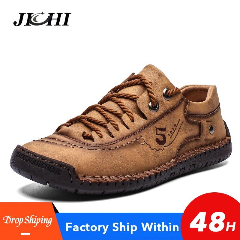 2020 Men Shoes Leather Casual Comfortable Flat Men Leather Shoes  Warm Waterproof  Men Shoes Casual Lace-up Shoes Big Size 48