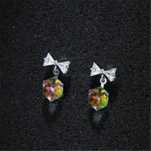 925 sterling silver Stud earrings Colorful rubiks cube sweet temperament Set auger Womens fashion jewelry
