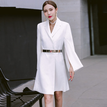 Long Blazer Dress Women Notched Slim Elegant Work Office Jacket with Belt White