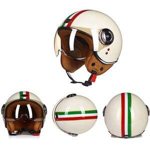 Image 2 - Motorrad Helm Chopper 3/4 Open Gesicht Vintage Moto Helm Moto Casque Casco Capacete Männer Frauen Roller Motorrad Helm