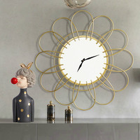 Nordic Luxury Decorative Mirror Metal Wall Clock Wall Home Decoration Simple Silent Clock Table