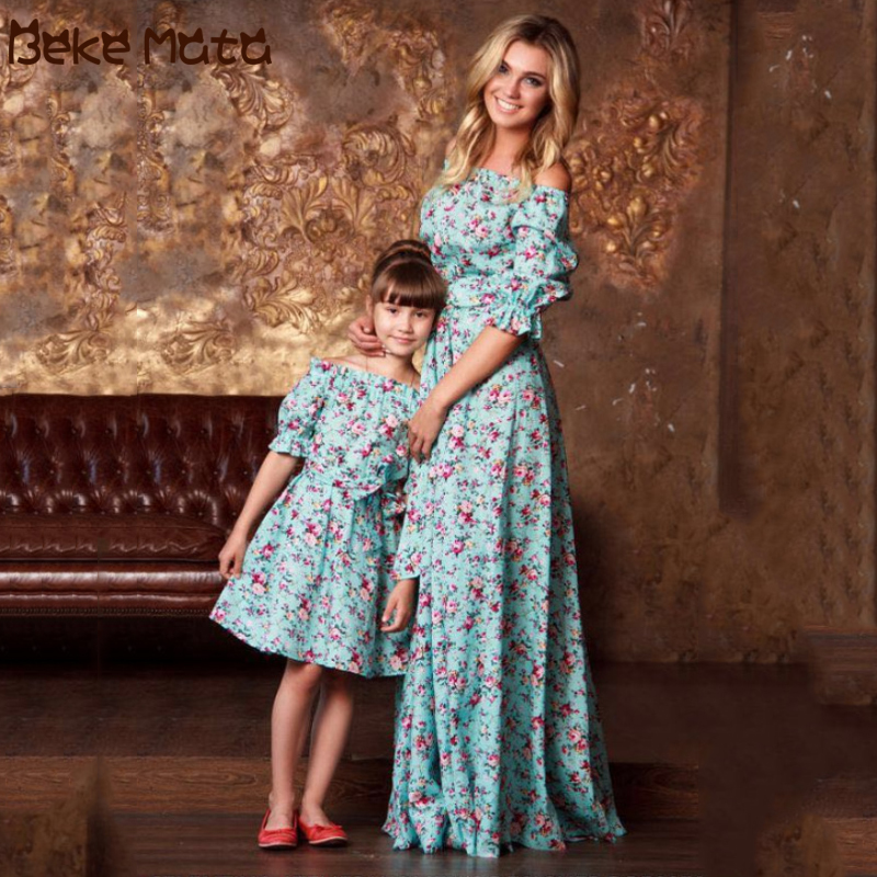Mother Daughter Dresses Mommy And Me Clothes Off-shoulder Ruffle Sleeve Floral Print Evening Family Look Mom And Daughter Dress