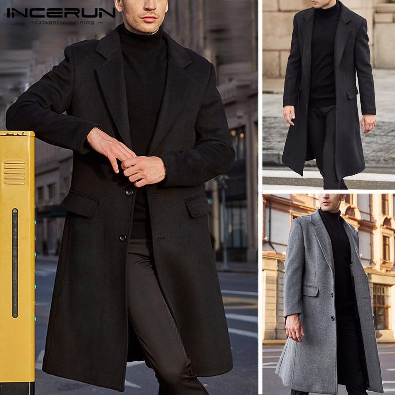 INCERUN Winter New Woolen Coat Men's Long Windbreaker 2019 Over Knees Coat High Quality Fashion Men's Lapel NeckWarm Coat 5XL