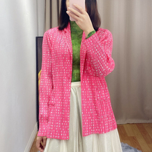Changpleat 2020 spring new fashion printed Women Suit Miyak Pleated long sleeve Large size one button Female coats Jacket Tide