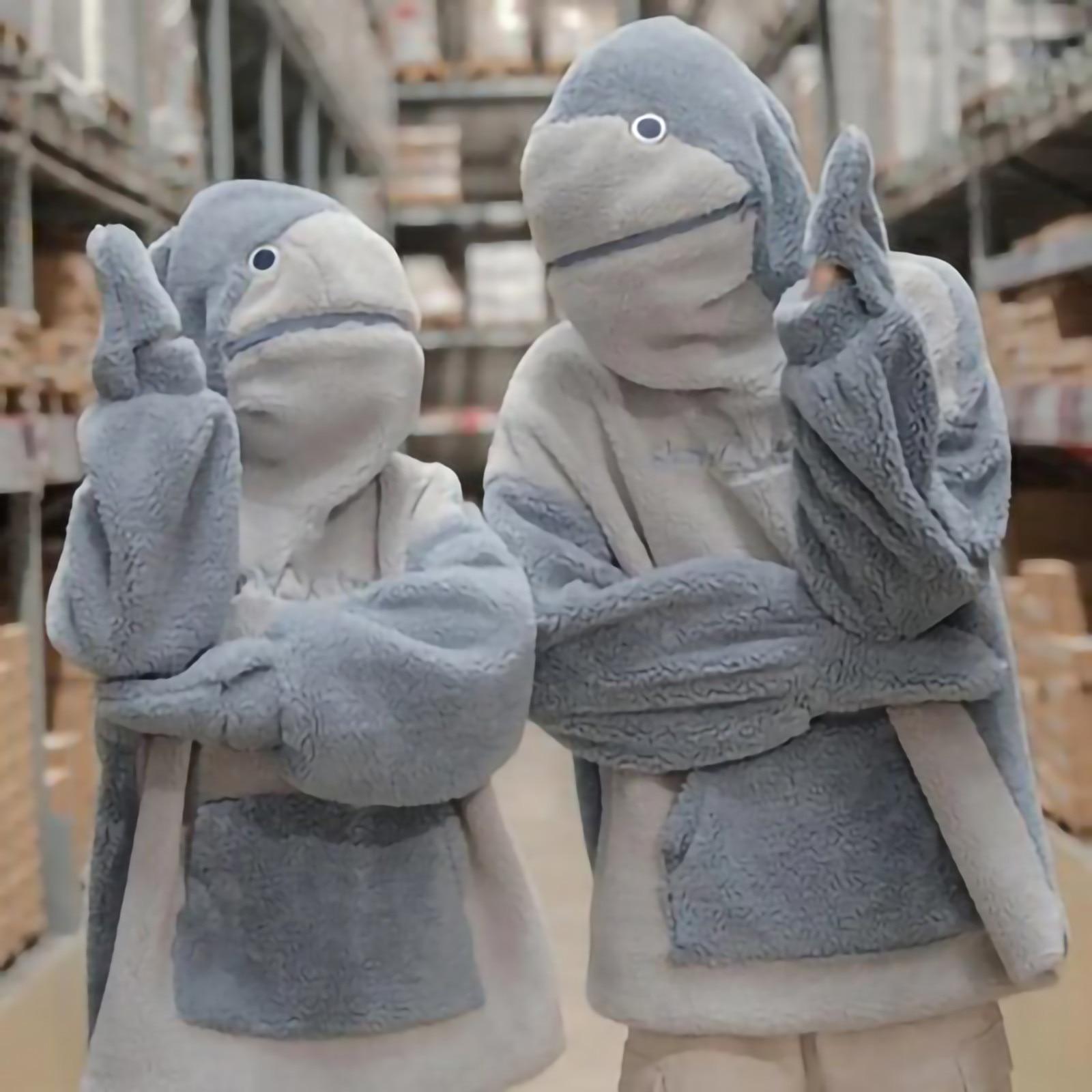 2021 Симпатичные Парные толстовки унисекс с капюшоном в виде акулы, толстовка большого размера с рукавами и карманами, износостойкий свитшот,...