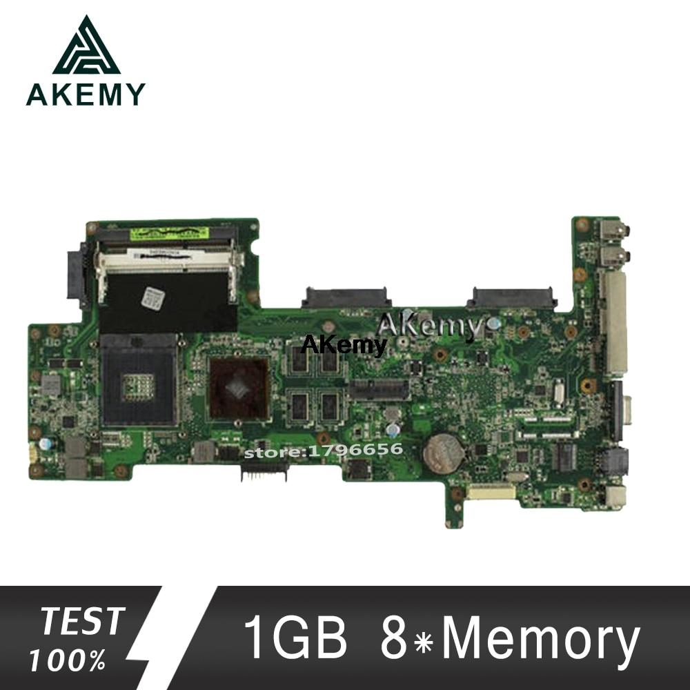 AKemy Laptop Motherboard For ASUS K72JR K72JT K72JU K72J X72J K72 Test Original Mainboard REV2.0 1GB 8*Memory