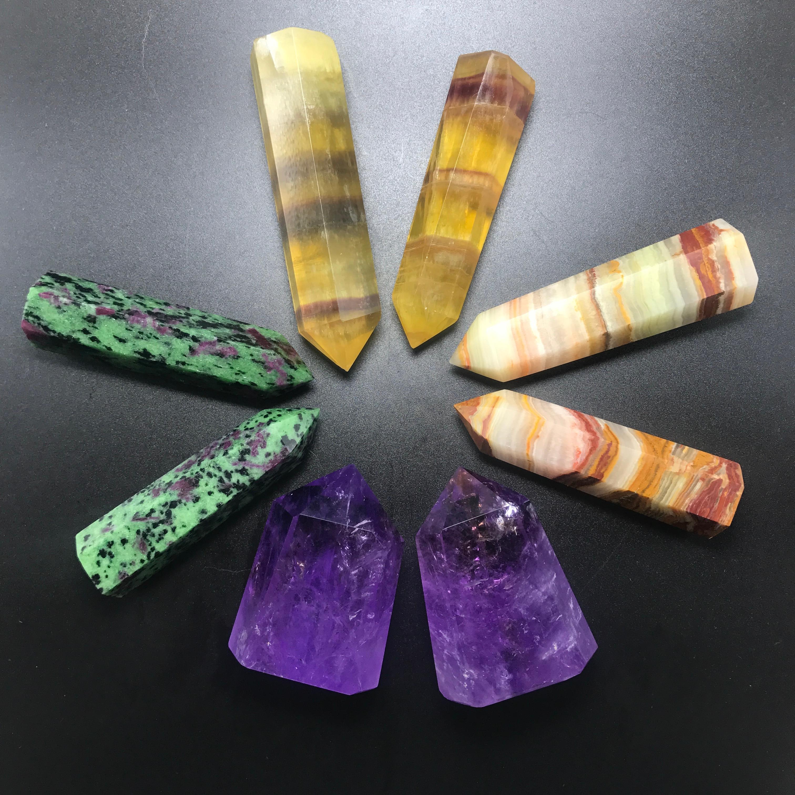 8 Pièces Naturel pierres précieuses uniques baguette collectionneurs pack dénergie En Cristal de quartz améthyste Lafghanistan jade citrine fluorite rubis Points