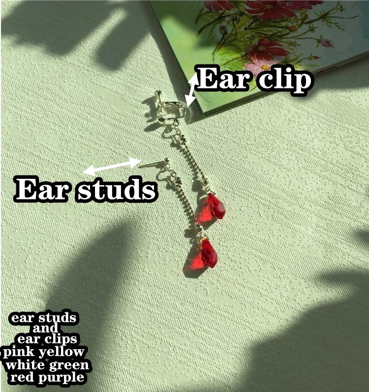 A PAIR Anime Hunter X Hunter Kurapika Ear clips Earring Stud diamond eardrops Dangle Cosplay Prop Handmade Red PINK GREEN YELLOW
