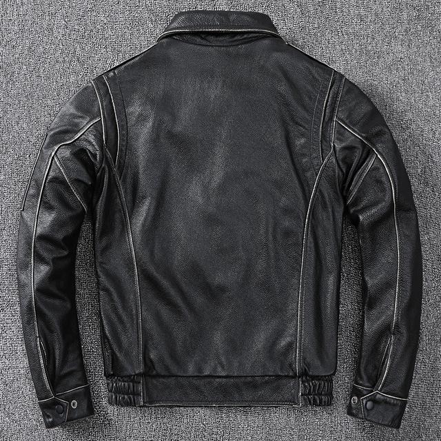 Chaqueta de cuero de piloto estilo militar negro Vintage de 2020 para hombre de talla grande 4XL cuero de vaca auténtico otoño ajustado abrigo de cuero de aviador