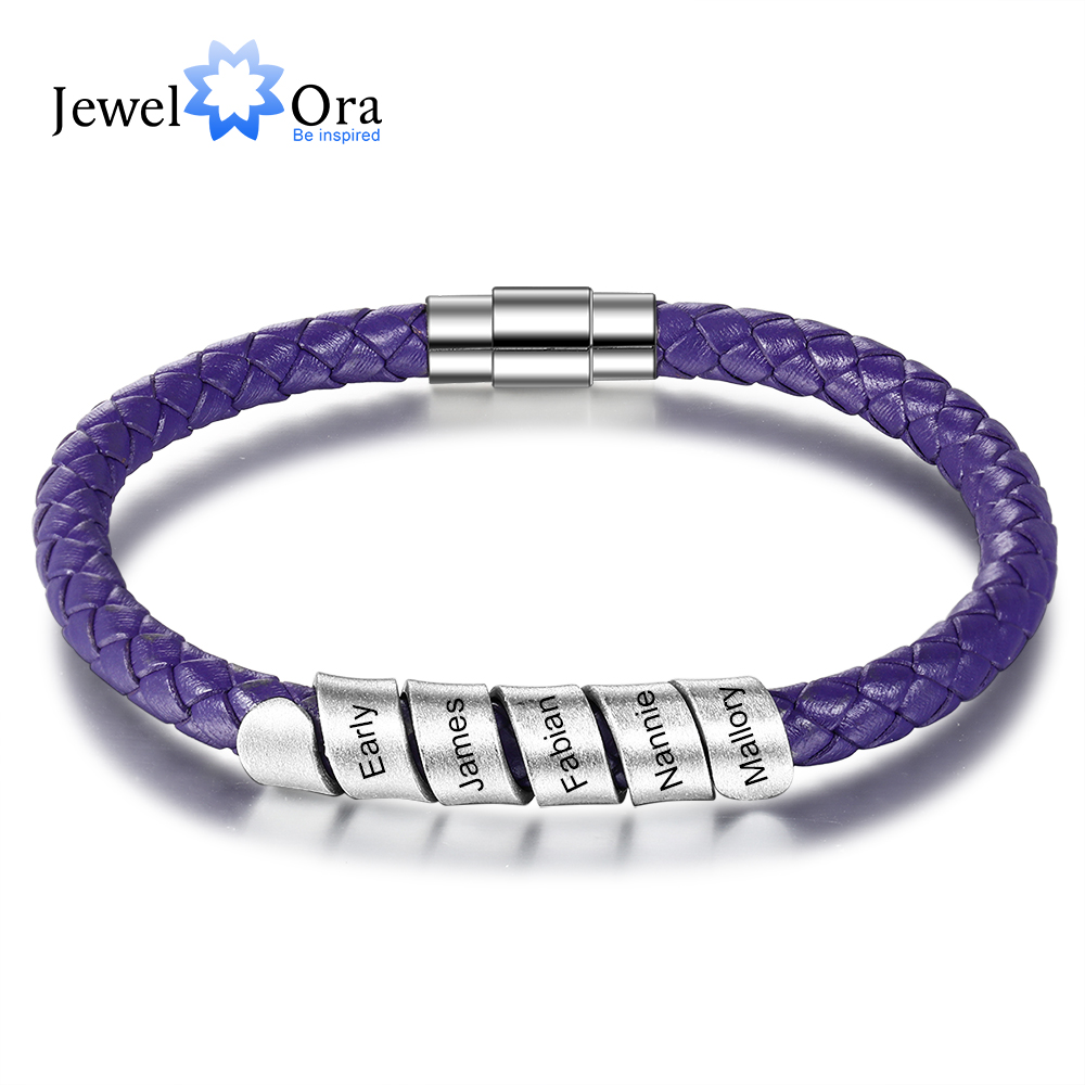 Personalized Family Names Bracelets With 5 Custom Beads Stainless Steel Purple Braided Rope Bracelets For Women Mother's Gift