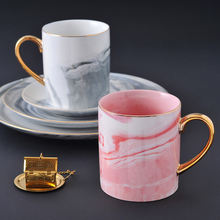 Европейский стиль Мраморная кофейная кружка ручная роспись золотой