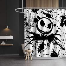 Jack pesadelo antes cortina de chuveiro de natal, dia das bruxas, crânio, decoração do banheiro