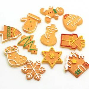 10/50 Uds. Navidad recién llegado resina plana galleta muñeco de nieve Gingerman casa bota árbol formas colgantes estilo Kawaii para DIY