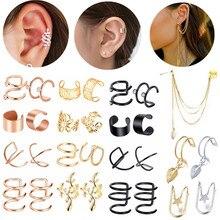 Stainless Steel Leaf Ear Cuffs Set Non Pierced Ear Helix Earring Lot Clip On Cartilage Earring Clip Ear Cuff Chain Set For Women