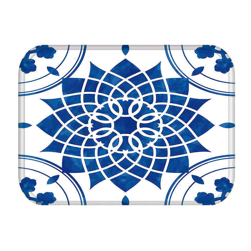 青白磁キッチン玄関ドアマットサンゴのベルベットのカーペットゴムカラフルな屋内フロア抗スリップ敷物 48257