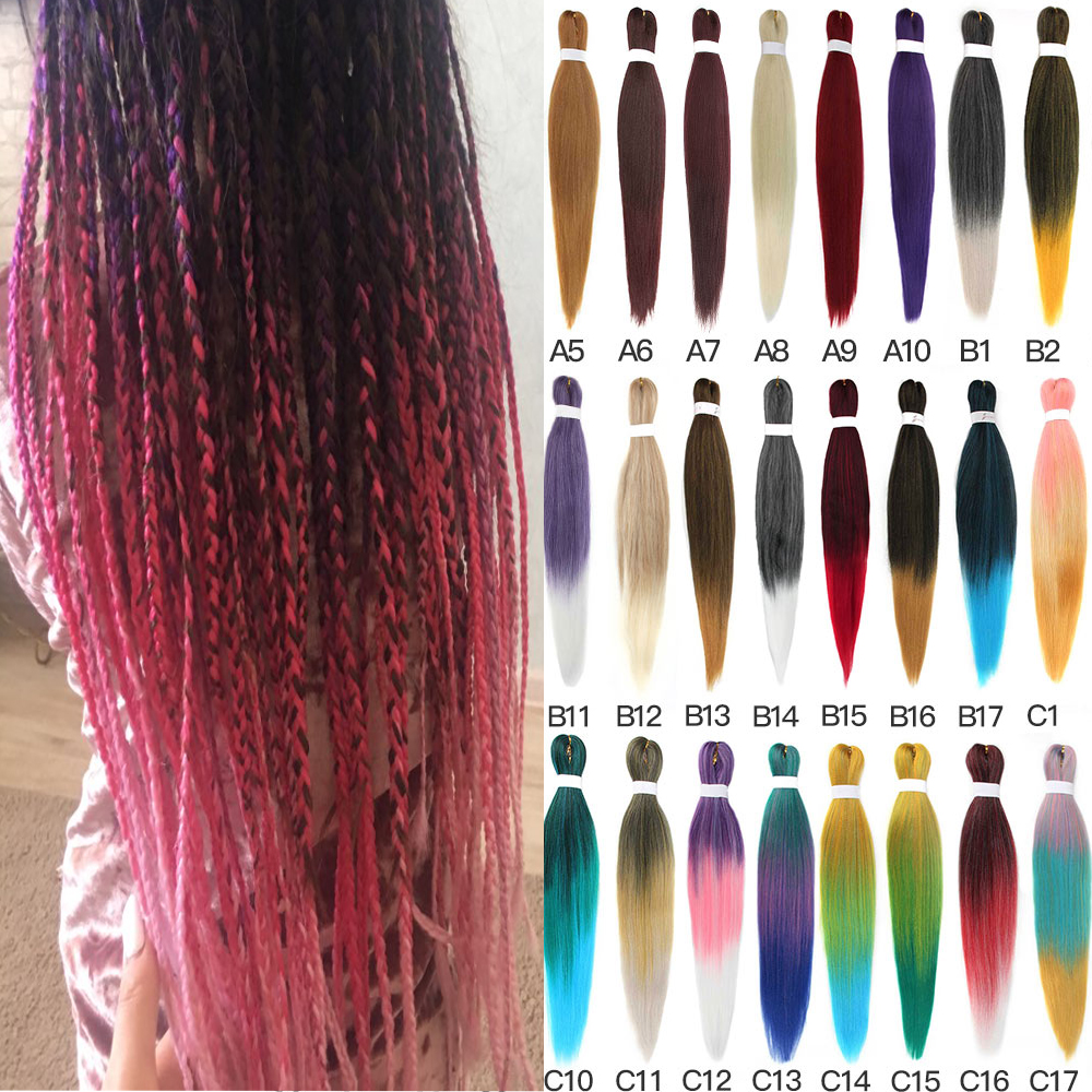 Ombre Pre Stretched Jumbo Braids Crochet Hair Synthetic Easy Braid Low Temperature Fiber Braiding Hair Extensions