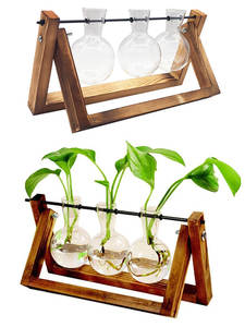 Vases Flower-Pot Wooden-Frame Glass-Tabletop Plant Home-Decor Transparent Vip Link-Hydroponic