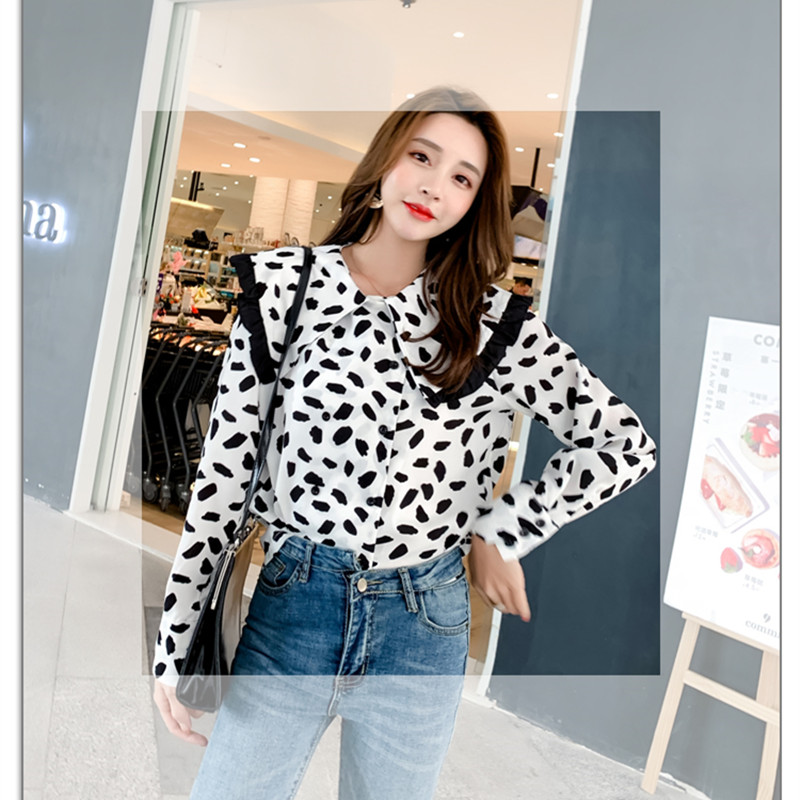 Alien Kitty Fashion Autumn Casual Shirts Women Dot Slim Loose Shirt Female Workwear Top Sexy High Quality Sweet All-Match Simple