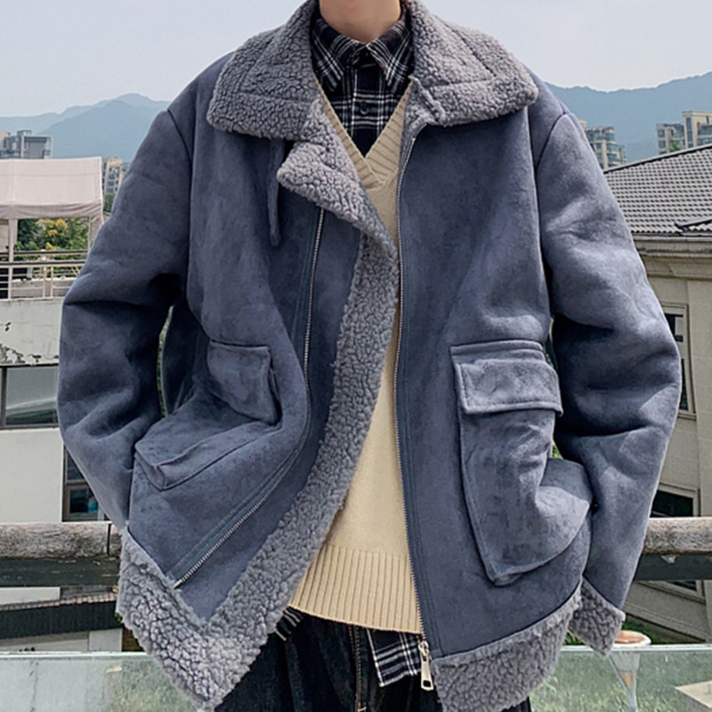 Зимняя куртка из овечьей шерсти, Мужская теплая Толстая парка, Мужская модная куртка с меховым воротником, Мужская свободная хлопковая